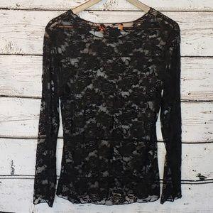 Urban Mango Tops - 🛒 Urban Mango Black Lace Shirt Sheer Long Sleeve